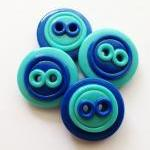 Blue buttons - 4 polymer ha..