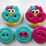 Pink & Blue owls - set of 5..