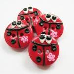 Lady bugs - set of 4 polymer clay h..