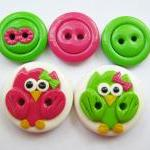Pink & Green owls - set of ..