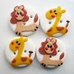 Giraffe and Lion - set of 4..