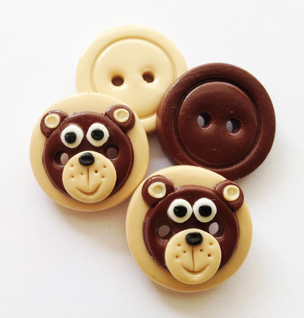 Little bear - set of 4 polymer clay buttons