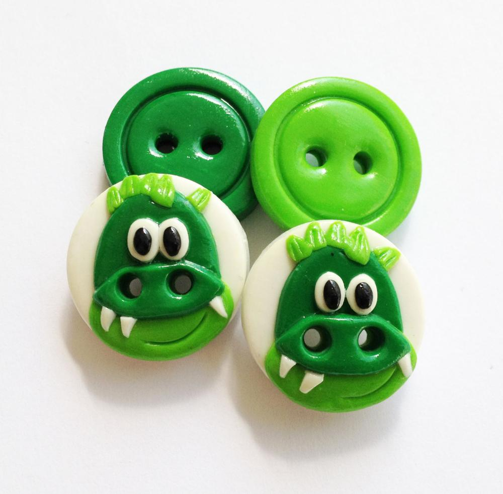Crocodile - set of 4 polymer handmade buttons