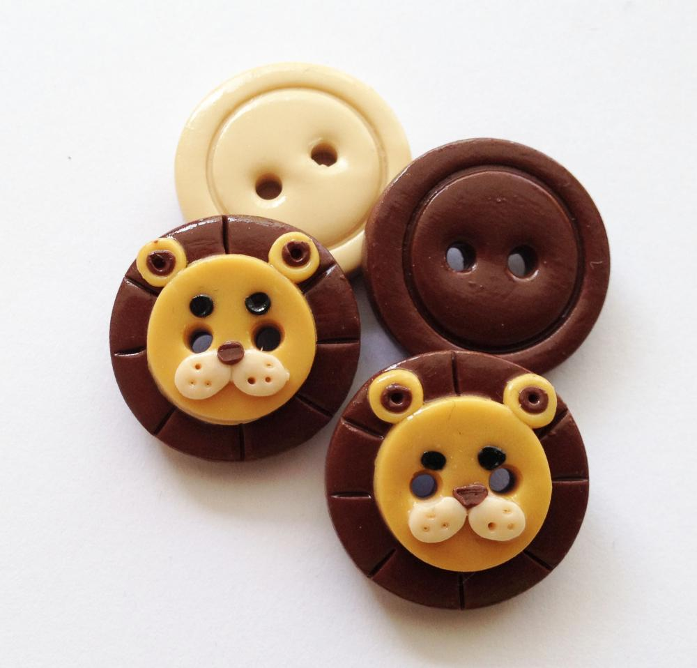 Little lions - set of 4 polymer clay buttons