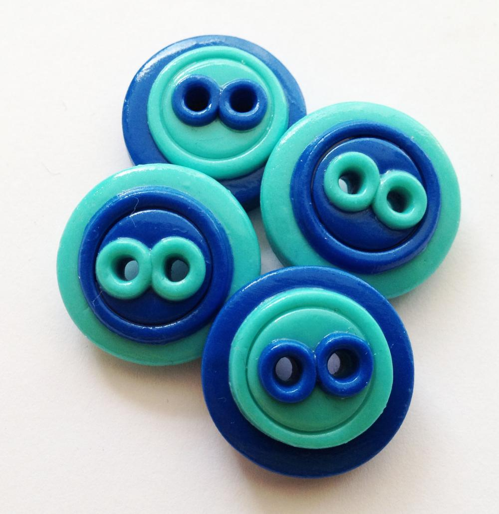 Blue buttons - 4 polymer handmade buttons