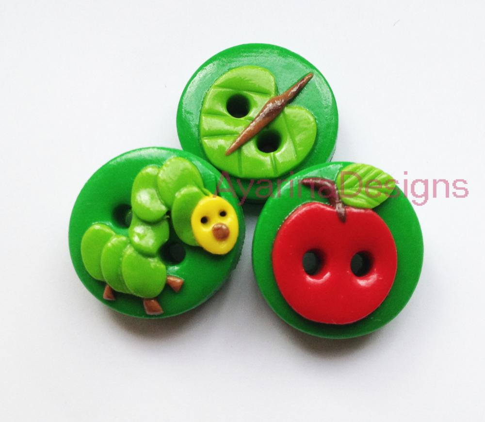 Caterpillar - set of 3 polymer clay buttons
