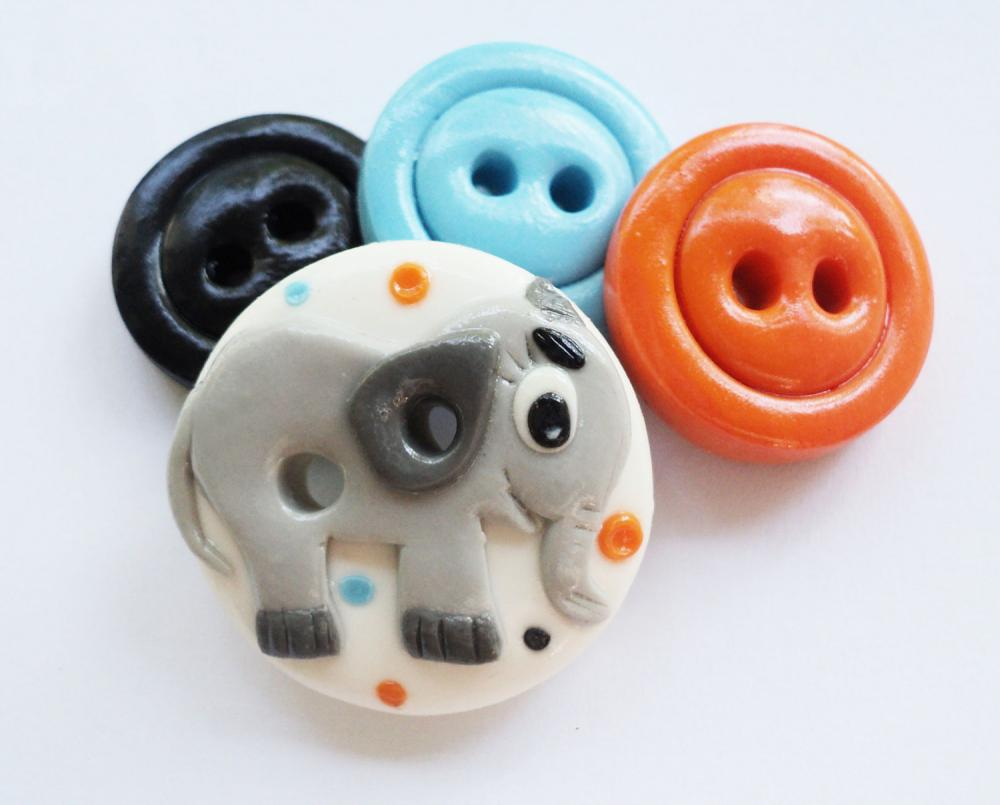 Little Elephant - set of 4 polymer handmade buttons