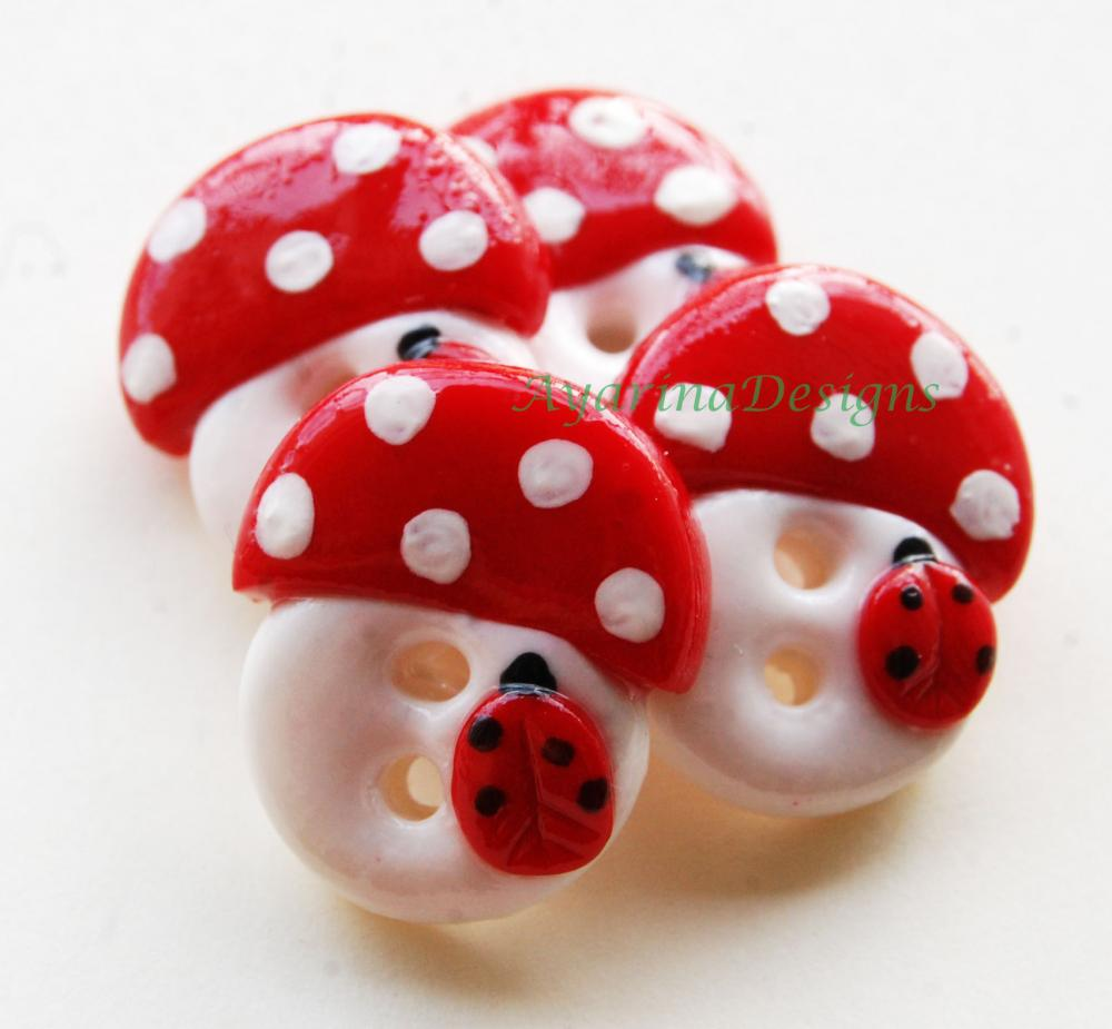 Mushrooms - set of 4 polymer clay handmade buttons