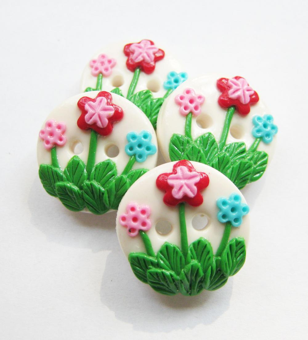 "Flowers Garden -set of 4 polymer clay buttons (3/4"")"