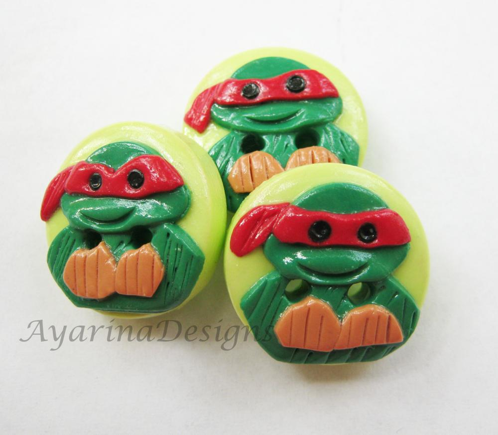 "Ninja Turtles - set o 3 polymer clay buttons (3/4"")"
