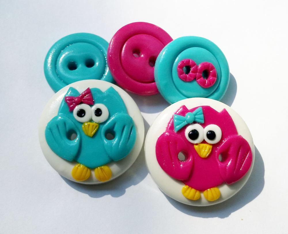 Pink & Blue owls - set of 5 polyer clay buttons