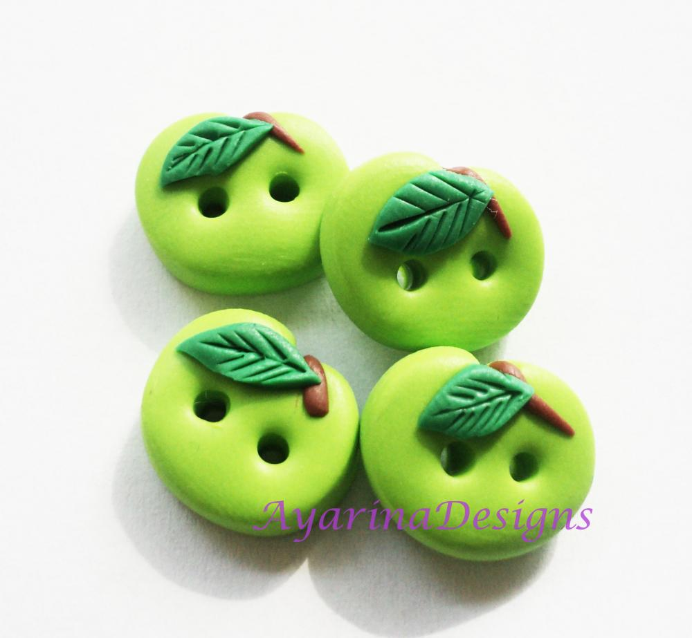 Green Apple - polymer clay buttons ( set of 4)