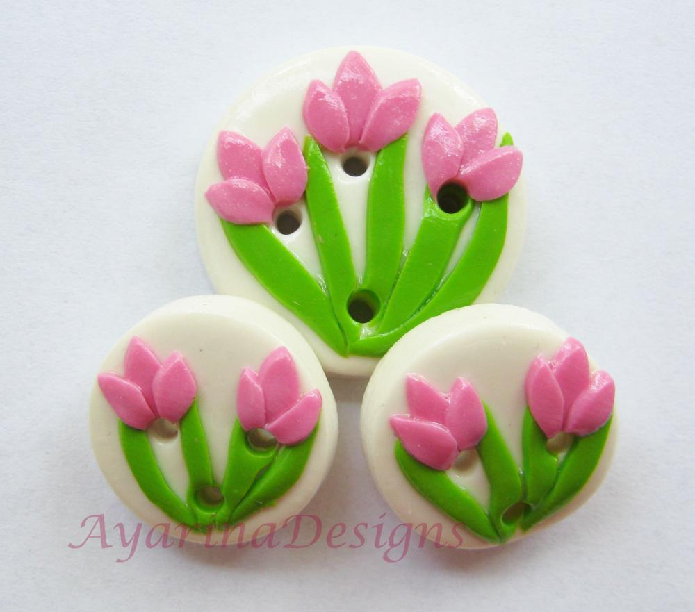Pink tulips - set of 3 polymer clay buttons