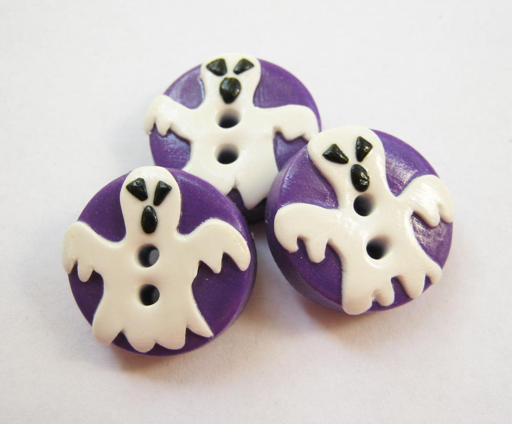 Buhuhuu- set of 3 polymer clay buttons (3/4&quot;)