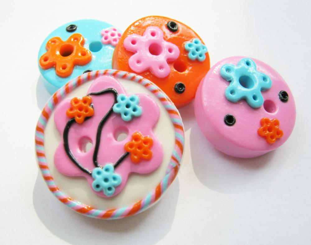 Joy - set of 4 polymer clay buttos