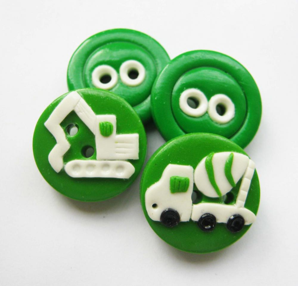 "Vehicles - set of 4 polymer clay buttons ( 3/4"")"