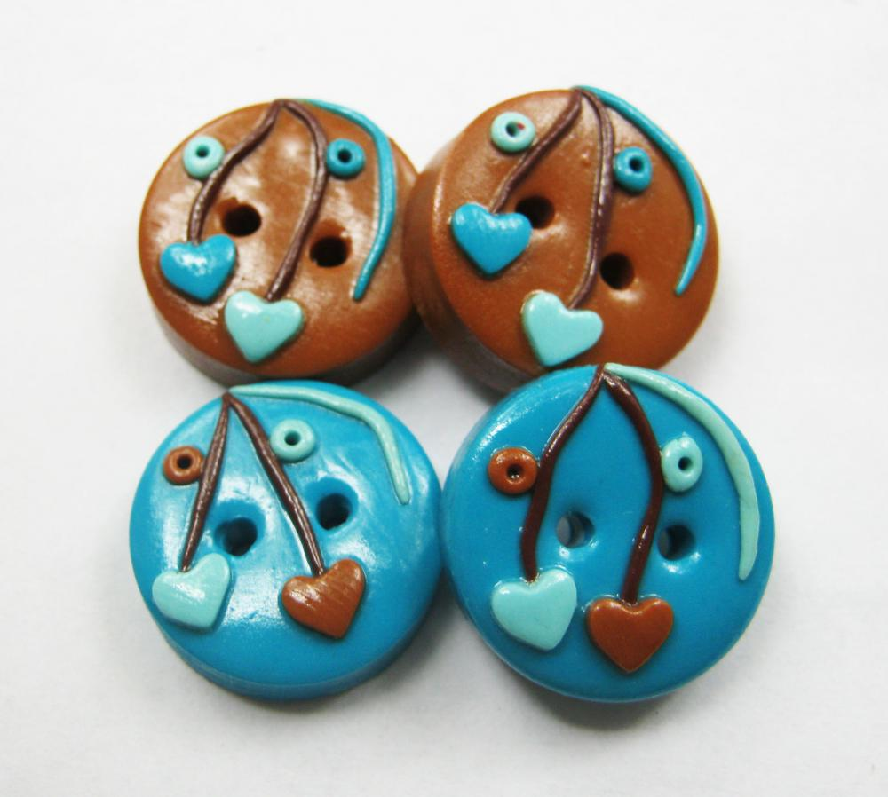 Loving blue and brown - set of 4 polymer clay buttons