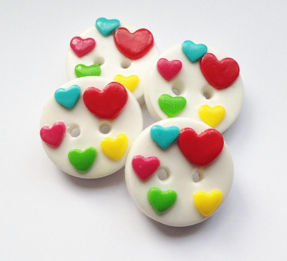 Colorful hearts - set of 4 polymer clay buttons