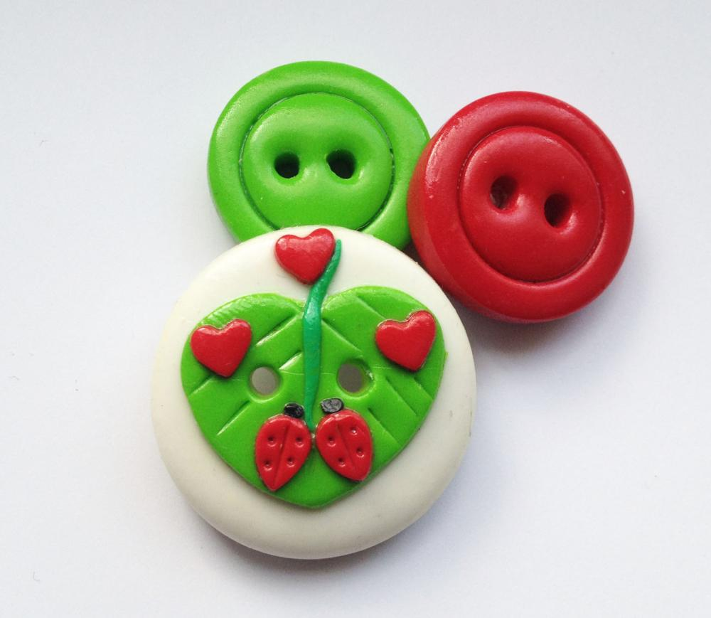 Ladybugs in love - set of 3 polymer clay buttons