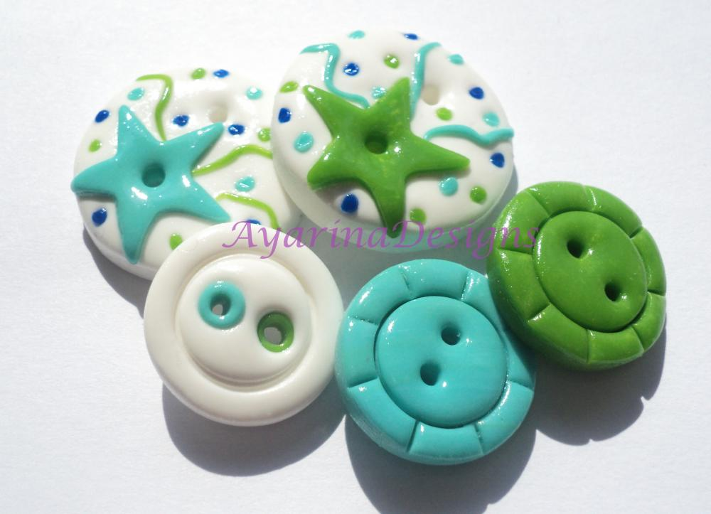 Blue-green stars - polymer clay buttons