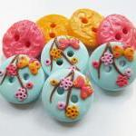 Flowers - set of 4 polymer ..