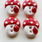 Mushrooms - set of 4 polyme..