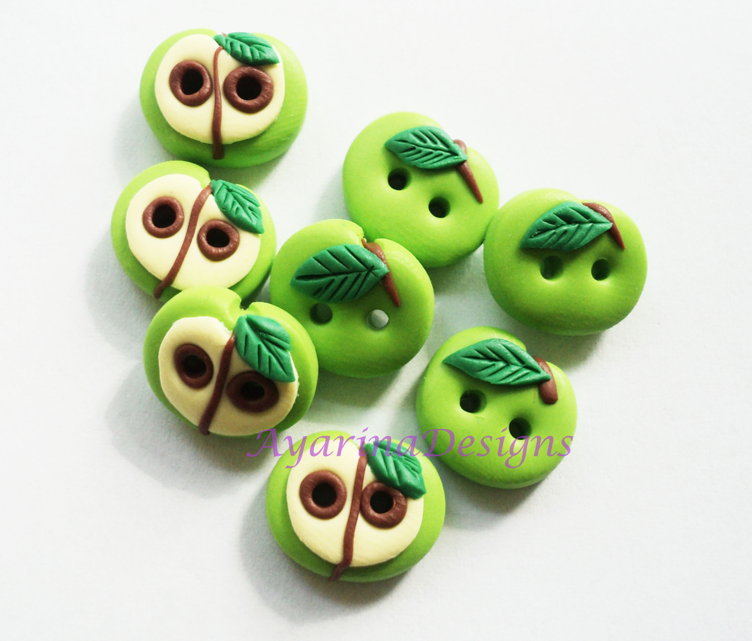 Green ApplePolymer Clay Buttons ( Set Of 8) on Luulla
