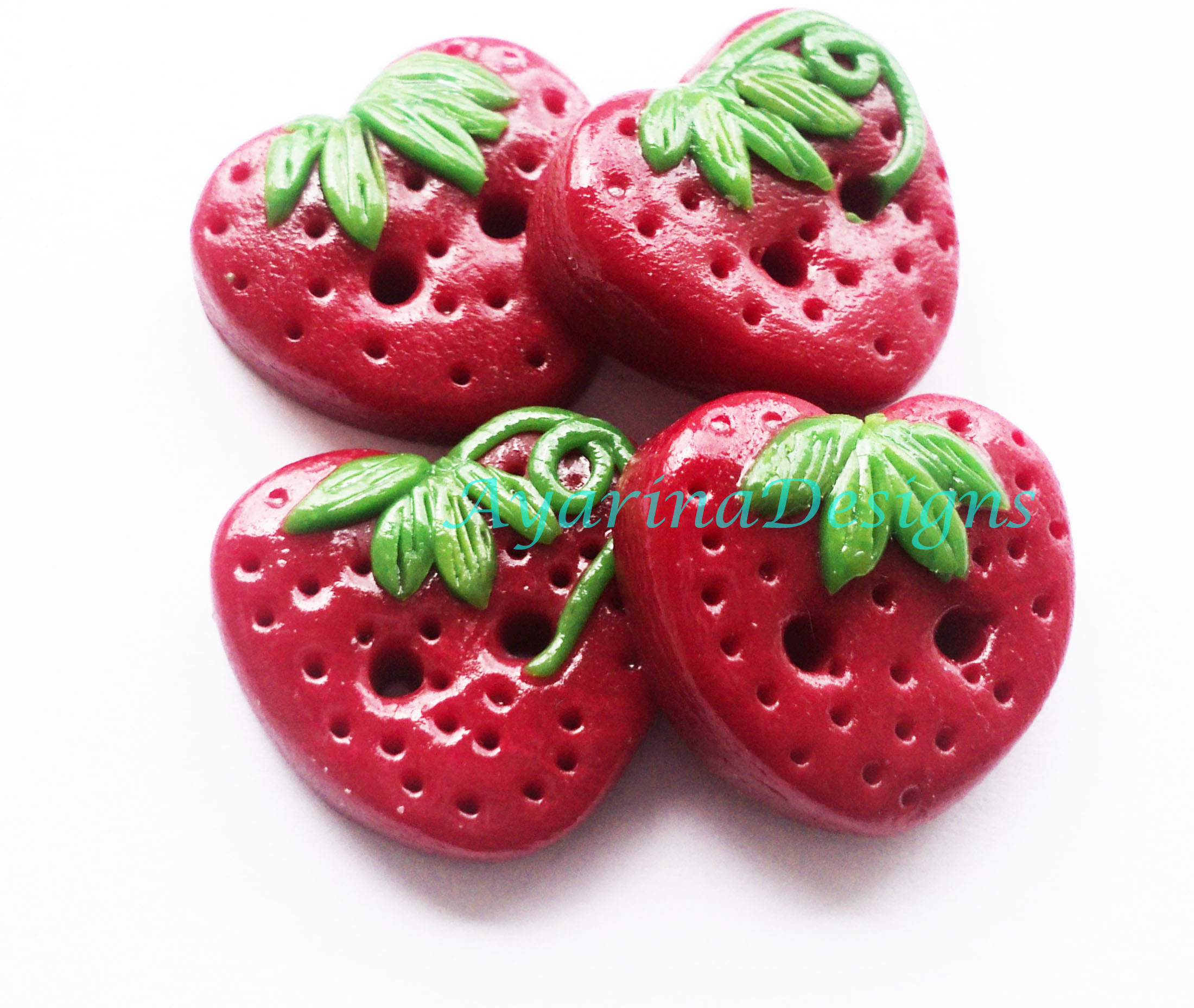 StrawberrySet Of 4 Polymer Clay Buttons on Luulla